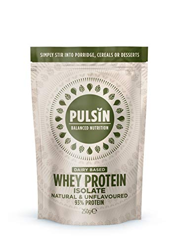 Pulsin, Pulsin' Unflavoured 93 Gluten Free Natural Grass Fed WPISINGLE, Whey Isolate Protein Powder, Dairy Based Whey Protein Isolate, 250 gram