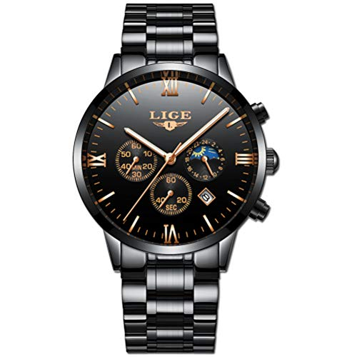 LIGE Relojes Hombre Acero Inoxidable Impermeable Deportes analógico de Cuarzo Hombres Reloj Negocios Cronógrafo Negro Fecha Automática Relojes