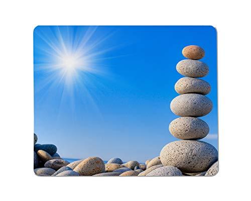 Yeuss geplaveide rechthoekige anti-slip muismat ronde stenen op een achtergrond van blauwe hemel Gaming muismat 200mm x 240mm