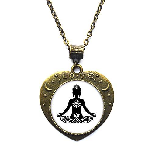 Ying Yang Zen Buddha, collares de flores de loto, joyería inspiradora, amuleto de flor de loto, joyería espiritual, budista, collar de flor-Yoga-#111