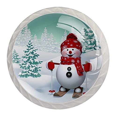 Perillas de armario de cocina, perillas decorativas redondas, armario, cajones, tocador, tirador, 4 piezas, invierno, nieve, árbol, muñeco de nieve