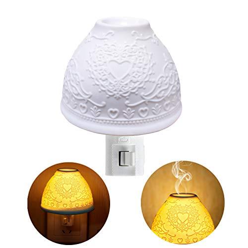 Nachtlicht Steckdose, Kimfly Keramik Kunst Nachtlicht Kind mit ätherischem Öl Aromatherapie Ofen und Glühbirne für Schlafzimmer (Warmweiß) [Energieklasse A+]