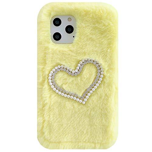 Funda para LG 2018 K10/K10+K10α/K11/K11+ hecha a mano suave de lana perla corazón suave sumisa nueva cubierta, DANGE Artificial Noble Shell teléfono caso para LG K10/K11 2018 amarillo