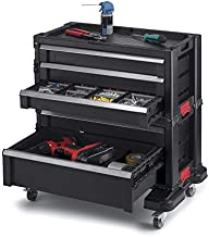 Keter Rolling Tool Chest with Storage Drawers, Locking System and 16 Removable Bins-Perfect Organizer for Automotive Tools for Mechanics and Home Garage