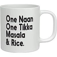 Sar54ryld One Naan One Tikka Masala & Arroz Taza de café de cerámica divertida taza de té de 11 oz única de Navidad, cumpleaños, regalo de Acción de Gracias para mejores amigos, él, ella, mamá, papá