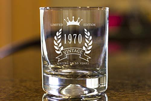 Generic Branded Copa de vino - 1970 año de nacimiento personalizado actualización personalizado Copa de fruta sin tallo decoración divertida