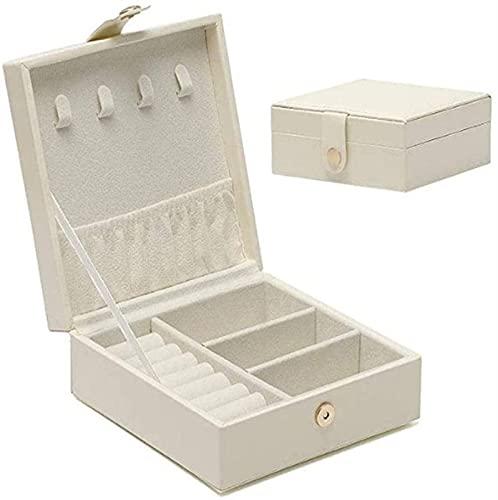 LHY Caja de joyería Pequeño Viaje Joyería Organizador Bolsa para Pendientes Collar Pulseras 12 x 12 x 5 cm (Blanco) (Color : White)