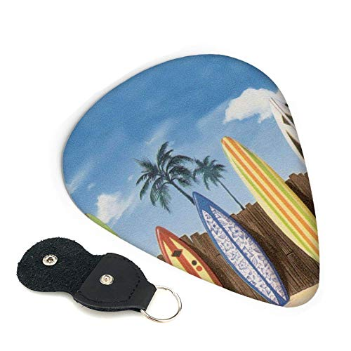 Palillos de guitarra para tabla de surf Palm Tree Beach, paquete de 6, adecuados para guitarra, ukelele, bajo, guitarra eléctrica