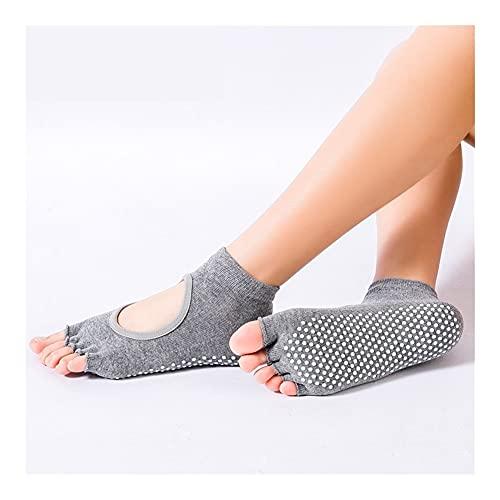 yoga socks Women Yoga Socks Five Toe Yoga Socks Sports Sock Anti Slip Breathable Yoga Socks Ankle Socks Ladies Ballet Dance Socks (Color : Grey, Size : US 4.5-9 EU34-39)