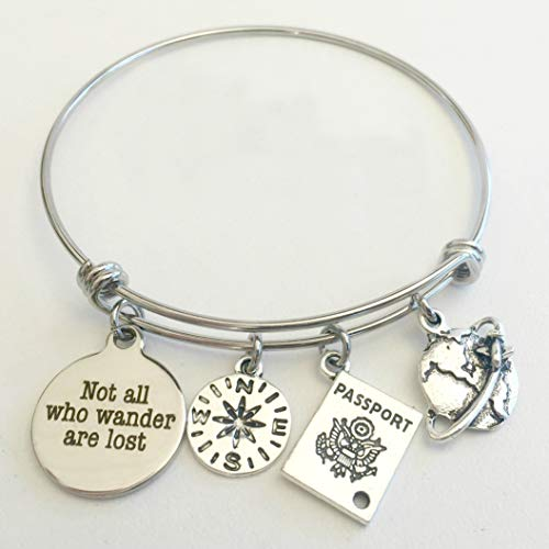 Not All Who Wander Are Lost Graduation or Travel Charm Bracelet - You Choose Charms
