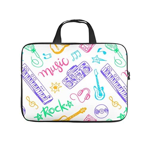 Facbalaign Karikatur - Funda para portátil, diseño de instrumentos musicales multicolor, blanco, 10 pulgadas,