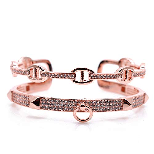Womens Fashion Signature Screw Stone Nail Bangle Cuff Bracelets