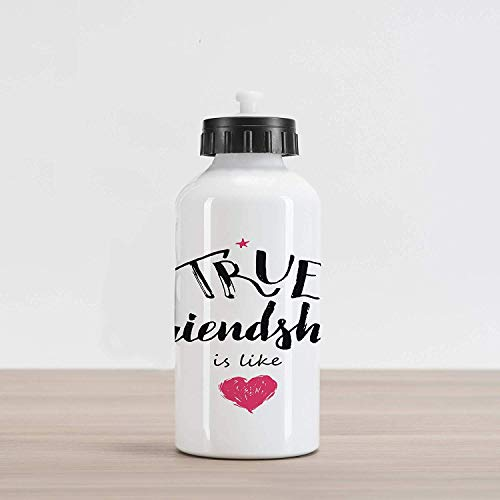 Travel Sport Bottle Aluminum Water Bottle Saying Sport Bottle, True Friendship is Like Lettering Completed by Pink Scribbled Heart, Aluminum Water Bottle Black White and Pink