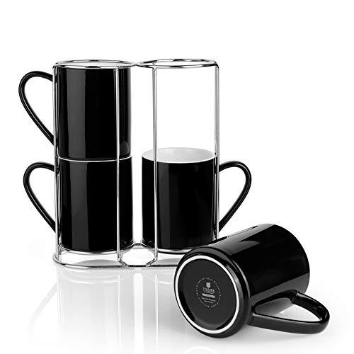 Teocera Porzellan Kaffeebecher mit Ständer Kaffeebecher Set - 313 ml für Tee, Kakao und Glühgetränke - 4er Set schwarz