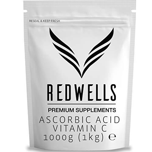 REDWELLS 1kg Pure Ascorbic Acid Powder (Vitamin C) Pharmaceutical Quality