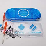Full Housing Case Cover Housing Shell Replacement for PSP 3000 3001 3002 3003 with Buttons Kit-Clear Blue