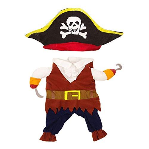 CCJW Disfraz de pirata para perro pirata convertido en disfraz de perro de peluche, ropa de Halloween y Navidad - Colorido - S kshu