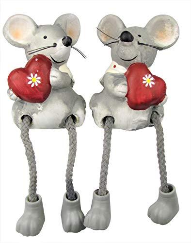 Osma Kantensitzer Paar - Dekoration - Deko Figuren aus Keramik - Höhe ca. 16cm - 2er Set (MÄUSE mit Herz)