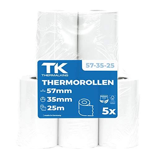 5 x EC Cash Thermorollen | Breite: 57 mm – Durchmesser: 35 mm - Hülsendurchmesser: 12 mm – Länge: 14 m | für Bondrucker, EC-Terminals, etc.