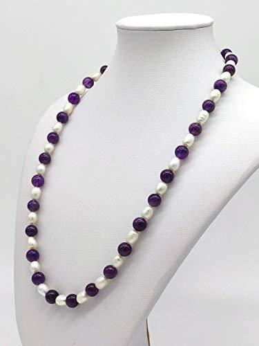 Collana Girocollo Donna in Ametista e Perle di Fiume Naturale, Fatta a Mano, 51 cm