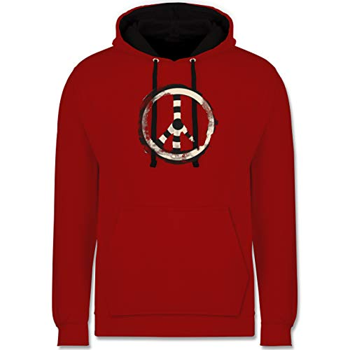 Shirtracer Statement - Zielscheibe Frieden - Target Peace - XXL - Rot/Schwarz - Symbol - JH003 - Hoodie zweifarbig und Kapuzenpullover für Herren und Damen