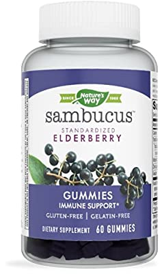 Nature's Way Sambucus Black Elderberry Gummies with Vitamin C and Zinc, 60 Gummies by Nature's Way