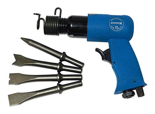 Bamax AT0061 Martello Pneumatico Scalpellatore ad Aria Compressa Semiprofessionale, con 4 Scalpelli 150mm, 105/116 DBA, 0 V, Azzurro