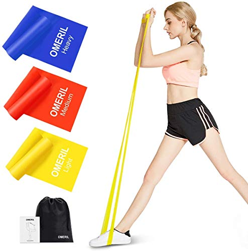 OMERIL Resistance Bands Set, 3 Pack Latex Exercise Bands with Carrying Pouch, Skin-Friendly Elastic Bands with 3 Resistance Levels for Home Workout, Strength Training, Physical Therapy, Yoga, Pilates