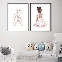 バレエダンスガールベビー保育園ウォールアートキャンバスポスターとプリントピンクの漫画の絵画北欧の子供たちの装飾写真部屋の装飾画像60x90cmx2フレームなし