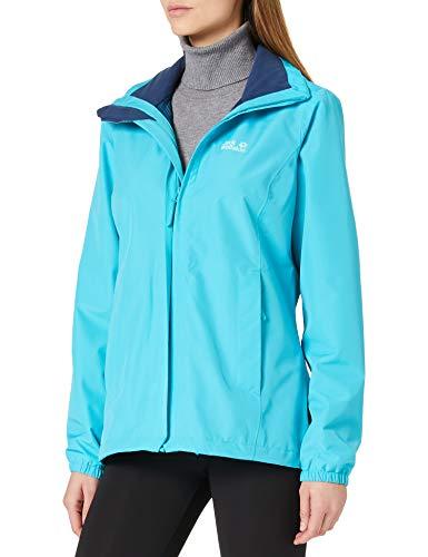Jack Wolfskin Damen Stormy Point Jacket W atmungsaktive Regenjacke, Blau (Dark Aqua), XXL*