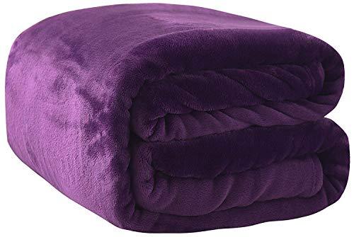 Rohi Fleece Throw Blankets Single Size - Super Soft Fluffy Faux Fur Warm Solid Plum/Purple Bed Throws for Sofa Fleece Bedspread Blanket - 127x152cm