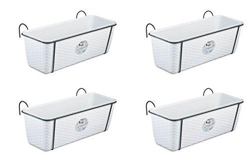 4 Stück Pflanzkasten im Rattan Design mit integriertem Wasserspeicher und Metallrahmen für Geländer Aller Art oder zum Aufstellen, Maße B 50 x H 18 x T 16 cm, Farbe weiß