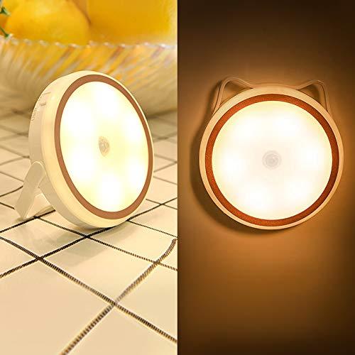 Luz Nocturna Infantil, FemKey Luz de Sensor Movimiento de Noche con Función Magnético, 3 Modo de Brillo Ajustable, Aplicación Colgado, Magnético y Pegado. Luz Gato USB Recargable.