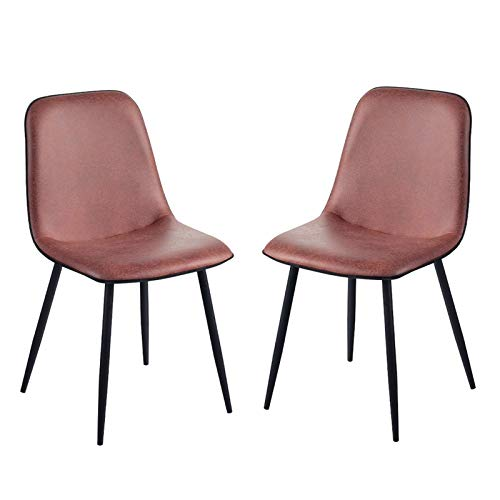 Dining Chairs Set of 2 Counter Corner Kitchen Chairs with Black Metal Legs and Backrest & Soft Faux Leather Seat for Lounge Office Dining Kitchen (Color : Brick red)