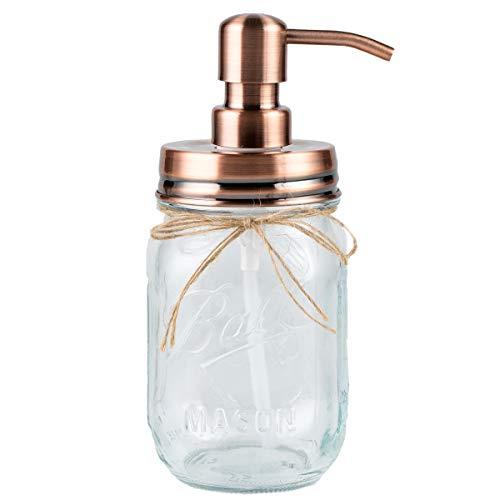 Plomkeest 480ml Einmachglas Seifenspender Klarglas Glas Seifenspender mit rostfreiem Edelstahlpumpe Flüssigseifenspender für Badezimmer, KitchenDecor Ideal für Lotionen, Flüssigseifen (Gold)