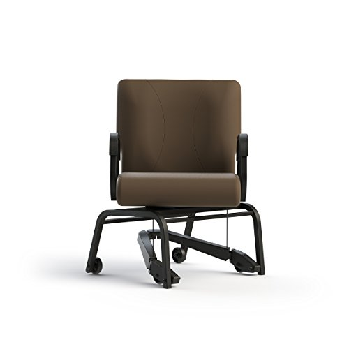 Living Made EZ LMZ-J1-5482 Titan Armed Chair with Steel Frame, Swivel, Mobility Assist Lever, Java, 22 Inch Width