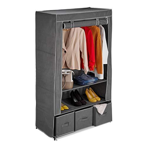 Relaxdays Stoffschrank, mit Kleiderstange, 3 Schubladen & 2 Ablagen, HBT: 160x95x45 cm, Faltschrank mit Bezug, anthrazit