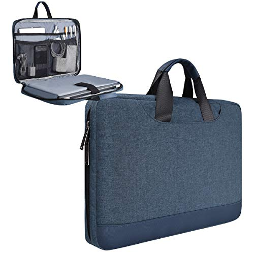 15.6 Inch Bussiness Office Laptop Case for Men Women Fit Acer Aspire 5, Dell Inspiron 15 5000, Lenovo Yoga 730 15.6, HP Pavillion/Envy x360 Sleeve Travel Carrying Laptop Chromebook Bag(Blue)