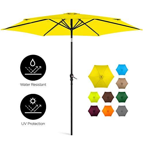 Best Choice Products 10ft Outdoor Steel Market Patio Umbrella w/Crank, Tilt Push Button, 6 Ribs, Yellow