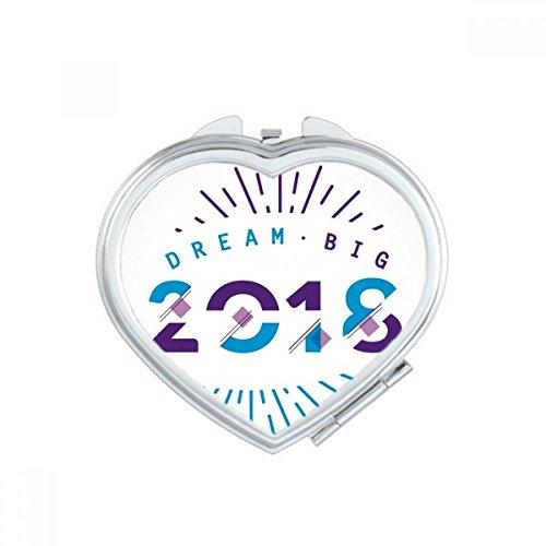DIYthinker 2018 Année Dream Big Happy New Year Coeur Miroir de Maquillage Compact Portable Mignon Miroirs de Poche à la Main Cadeau Multicolore