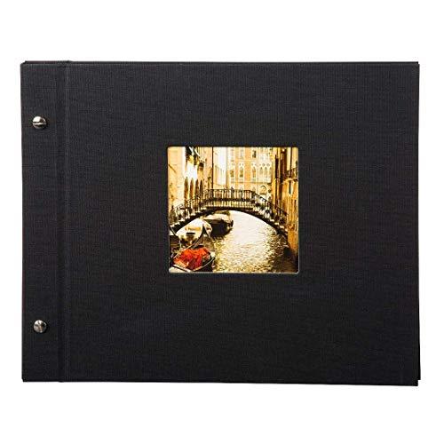 goldbuch 26977 Schraubalbum mit Fensterausschnitt, Bella Vista, 30 x 25 cm, Fotoalbum mit 40 schwarze Seiten mit Pergamin-Trennblättern, Album erweiterbar, Fotobuch aus Leinen, Schwarz