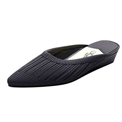 AOJIAN Women Sandal Pointed Toe Loafer Wedge Shoe Slip On Shallow Mule Slipper (Black, 6)