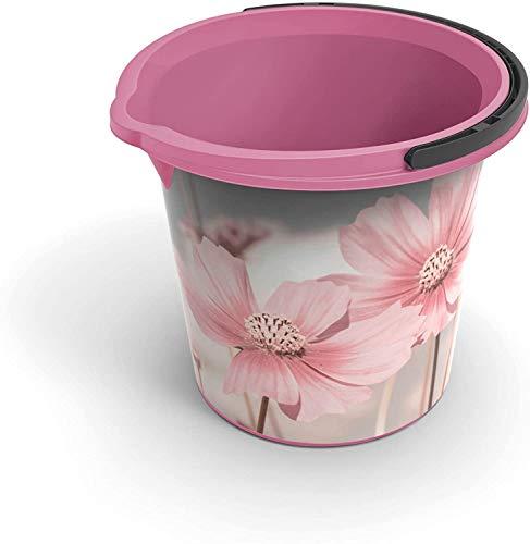 Rotho Vario Art Eimer 10l mit Henkel und Ausguss, Kunststoff (PP) BPA-frei, rosa/blumen, 10l (29,2 x 29,2 x 25,9 cm)