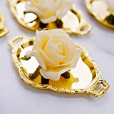 Efavormart 12 Pack - 4.5' Gold Oval Mini Candy Display Tray Favors - Baroque Design for Wedding, Bridal Shower, Baby Shower, Birthday, Candy Jars Decorations