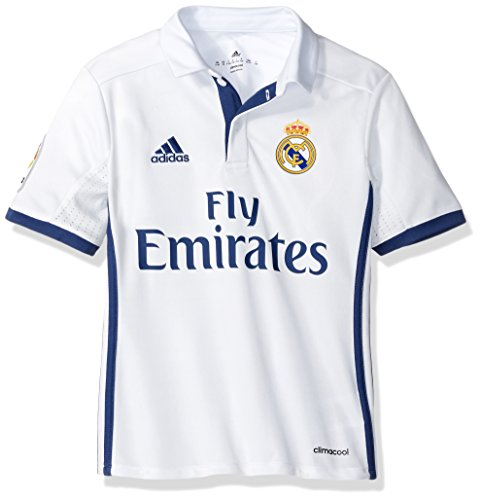 adidas Boys' Soccer Real Madrid Youth Jersey, White/Purple, X-Large