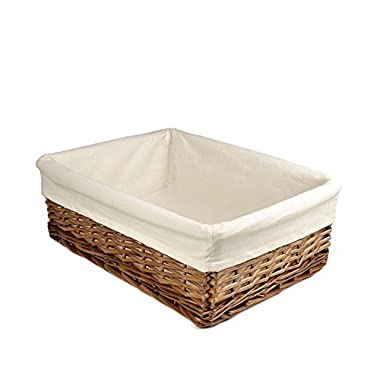 RURALITY Rectangular Wicker Storage Baskets Woven Basket with Thickness Lining for Home Decoration,Coffee Color Large