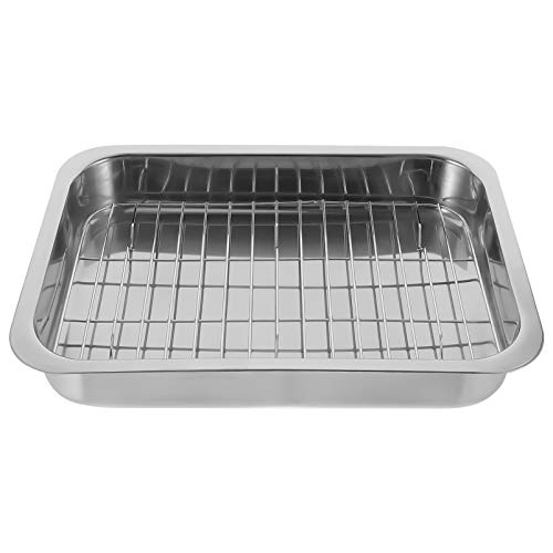 FRCOLOR Stainless Steel Baking Tray, Rimmed Baking Sheet with Rack Practical for Oven Easy Clean Baking Dish, Small