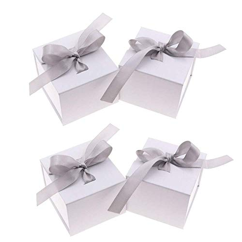 ANNIUP 4 Pack Jewelry Gift Boxes with Bowknot Ribbon Lace Paper Box Pendant Case Travel Storage Display Case for Ring Necklace Earrings Brooch, Small, 5X5X4 cm, White
