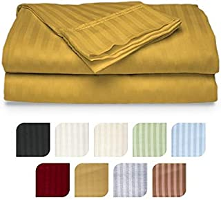 Crystal Trading 4-Piece Bed Sheet Set - Dobby Stripe - Microfiber - (Queen, Gold)