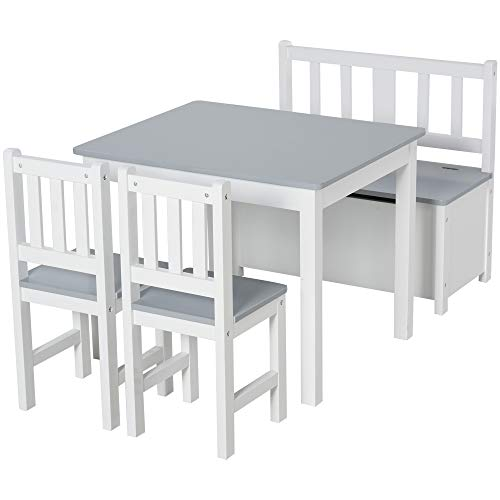 Qaba 4-Piece Set Kids Wood Table Chair Bench with Storage Function Toddlers Age 3 Years up, Grey and White